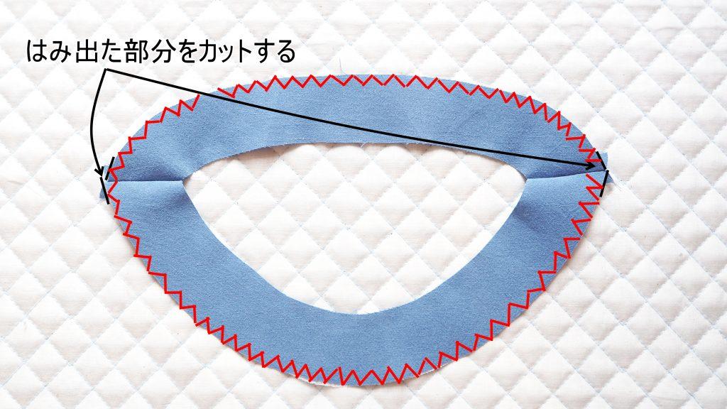 大人用Aラインワンピース 衿ぐり見返しにジグザグミシン 縫いナビ