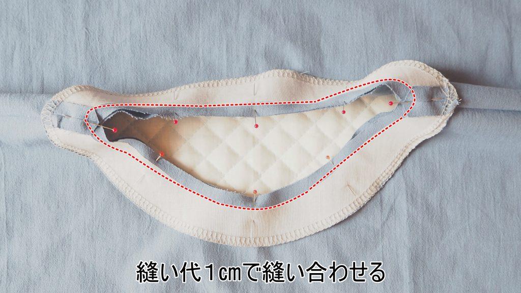 大人用Aラインワンピース 身ごろと衿ぐり見返し縫い合わせ 縫いナビ