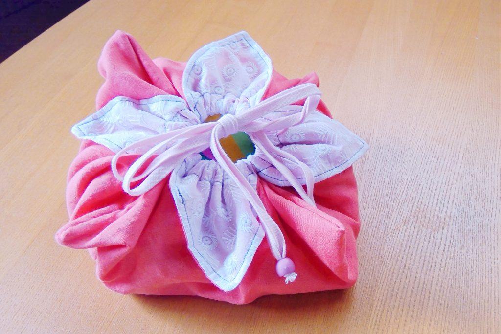 花巾着|完成|丸石織物|縫いナビ