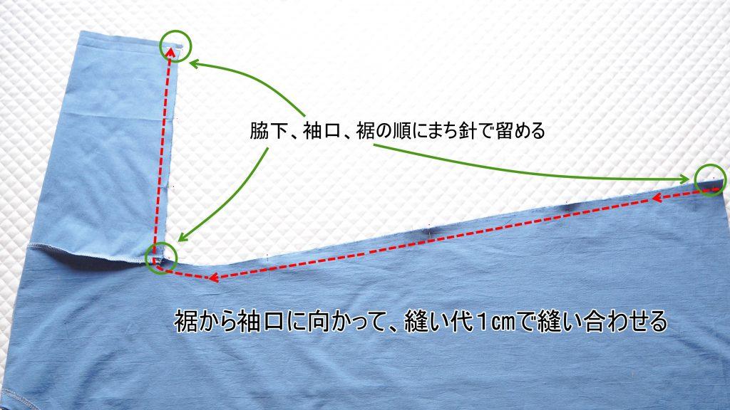 大人用Aラインワンピース 袖下、身ごろ脇縫い合わせ 縫いナビ