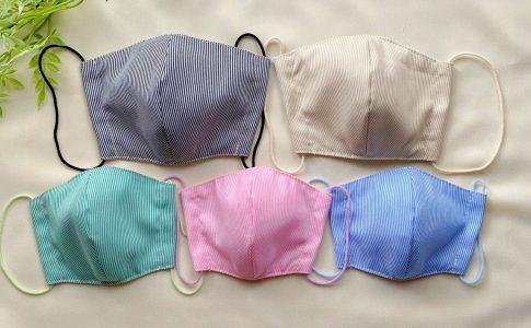 立体マスク作り方+完成5色2|ハンドメイド初心者のための洋裁メディア縫いナビ|丸石織物