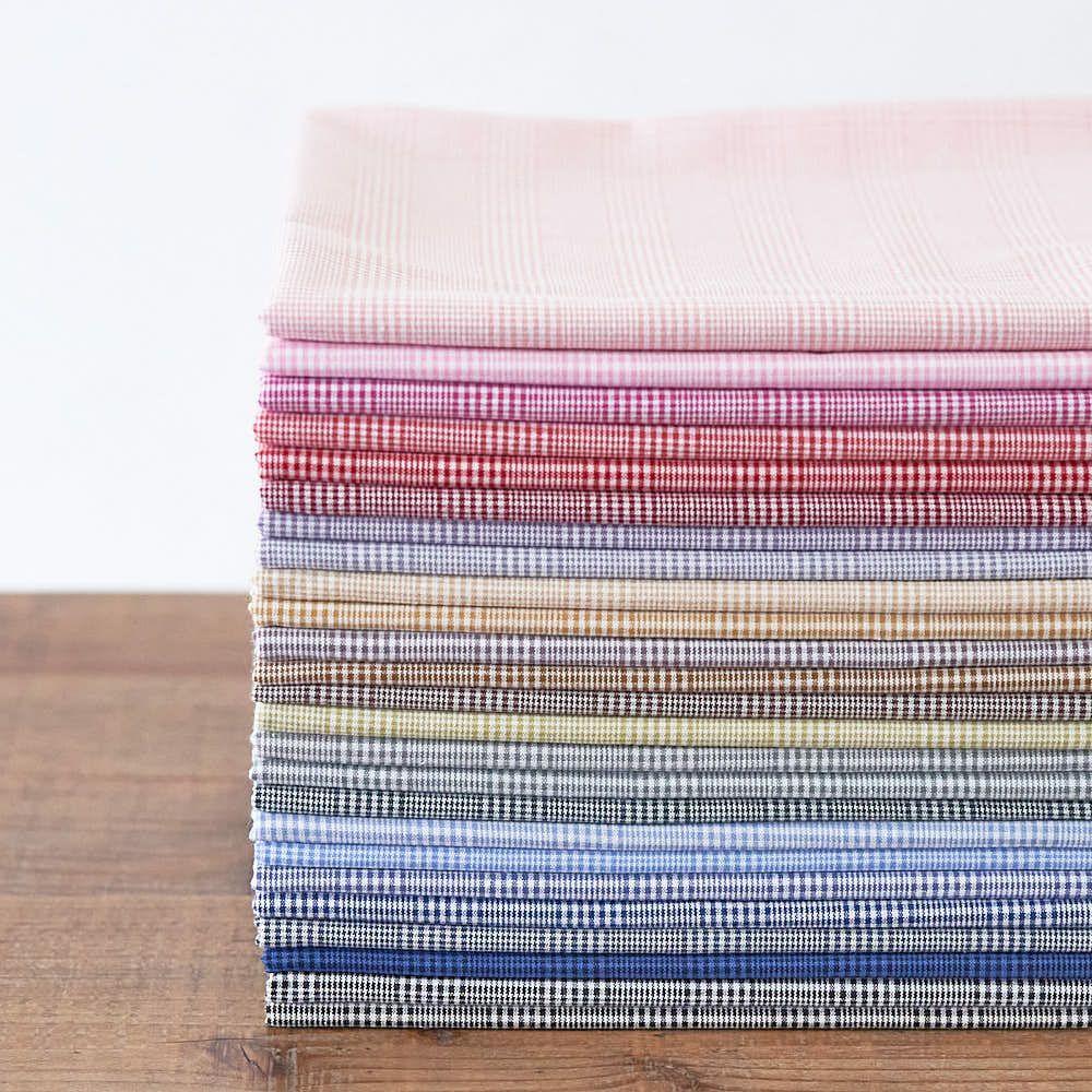 綿ポリ交織グレンチェック|生地のマルイシ|丸石織物