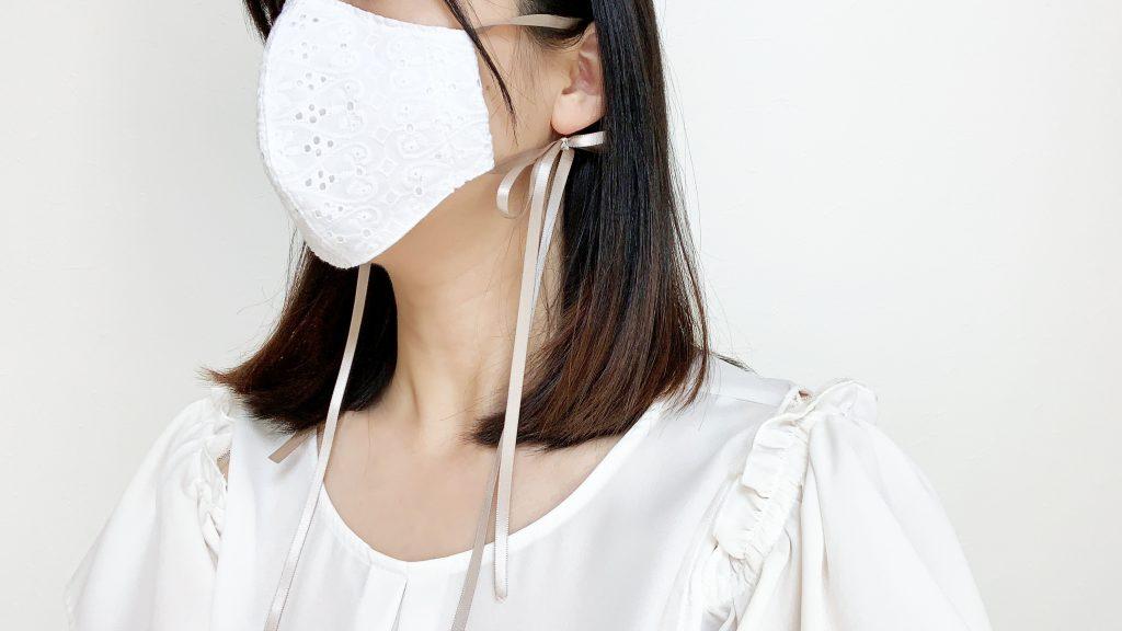 リボンひもの立体マスクの作り方|ハンドメイド 初心者のための洋裁メディア縫いナビ|丸石織物|着用イメージ