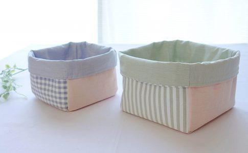 はぎれで簡単!小物の整理に便利な布小物ボックスの作り方完成写真│ハンドメイド初心者のための洋裁メディア縫いナビ│丸石織物