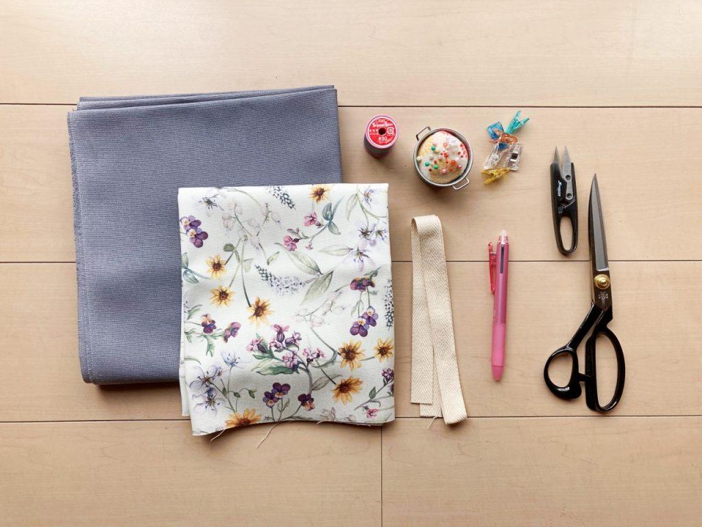 柔らか帆布で縫いやすいキャンバストートの作り方|トートバッグ|初心者のための洋裁メディア縫いナビ|丸石織物|準備するもの|リバティ帆布