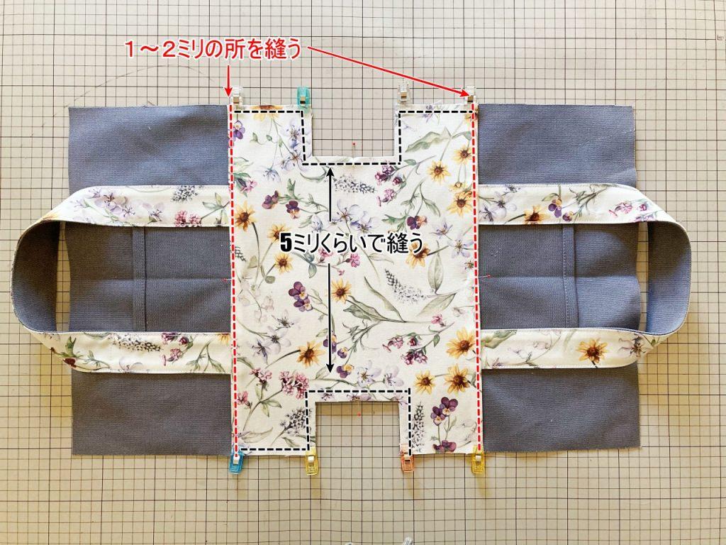 柔らか帆布で縫いやすいキャンバストートの作り方|トートバッグ|初心者のための洋裁メディア縫いナビ|丸石織物|底布を付ける|リバティ帆布|リバティバッグ