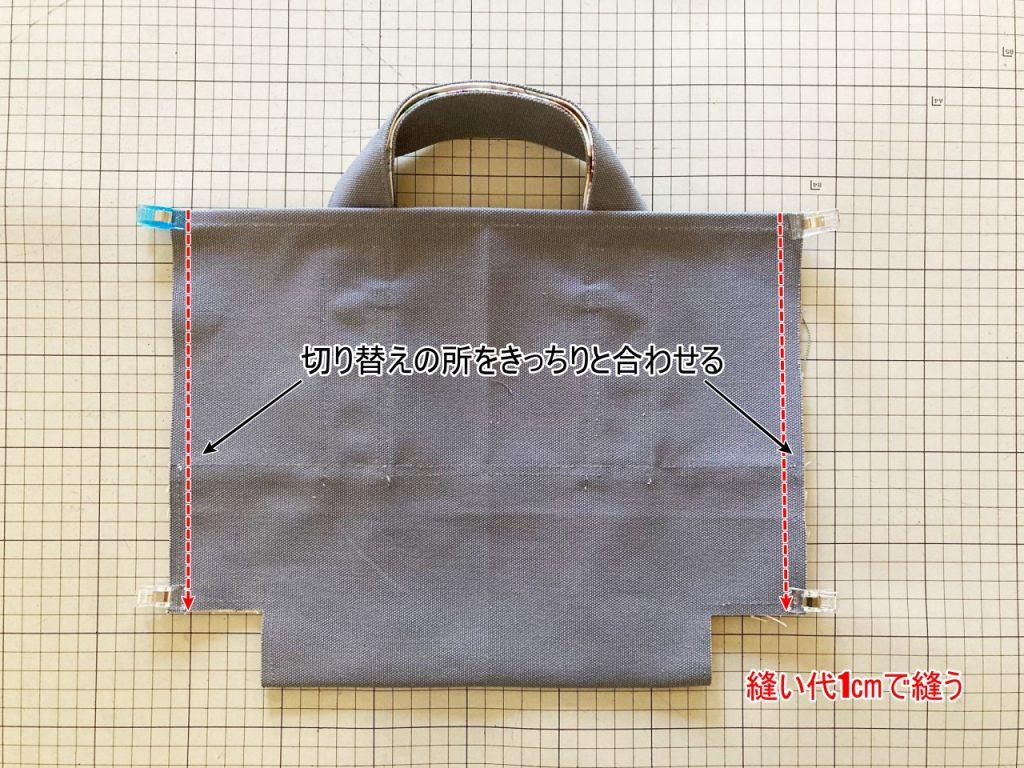 柔らか帆布で縫いやすいキャンバストートの作り方|トートバッグ|初心者のための洋裁メディア縫いナビ|丸石織物|脇とまちを縫う|リバティバッグ
