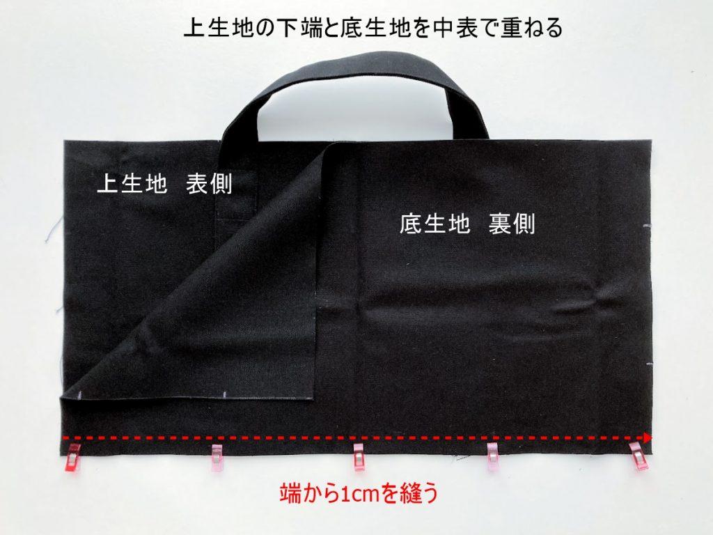 1mの8号帆布で作る!簡単シンプルな外マチ大判トートバッグの作り方|上生地と底生地を中表で重ねて端を縫う|ハンドメイド初心者のための洋裁メディア縫いナビ|丸石織物