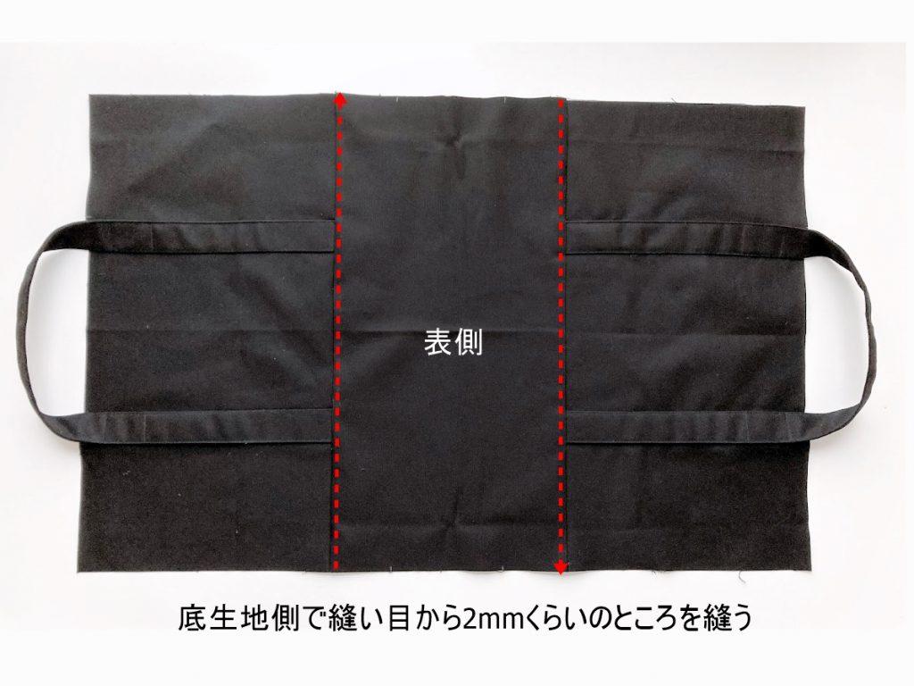 1mの8号帆布で作る!簡単シンプルな外マチ大判トートバッグの作り方|底生地側に押さえのステッチを入れる|ハンドメイド初心者のための洋裁メディア縫いナビ|丸石織物