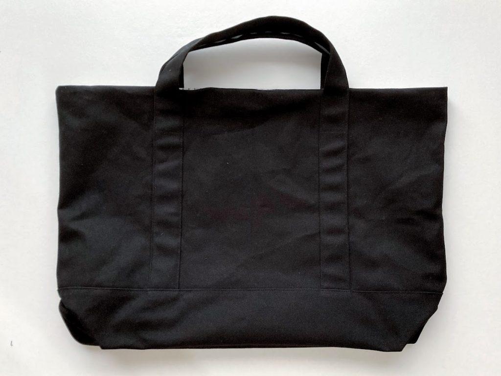 1mの8号帆布で作る!簡単シンプルな外マチ大判トートバッグの作り方|生地を表に返したところ|ハンドメイド初心者のための洋裁メディア縫いナビ|丸石織物